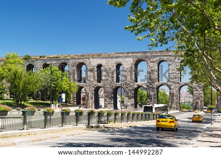 Aqueduct of Valens in Istanbul, Turkey. It was built by the emperor Valens in the late 4th century, and is one of the most important landmarks of the city. - stock photo