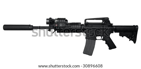 AR-15 Assault rifle side view Isolated on white background - stock photo