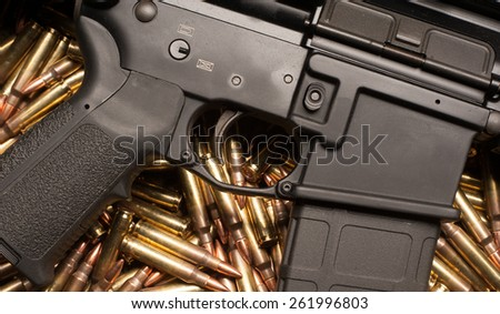 Ar15 with .223 or 5.56mm x 45 full metal jacket m193 military ball ammunition - stock photo