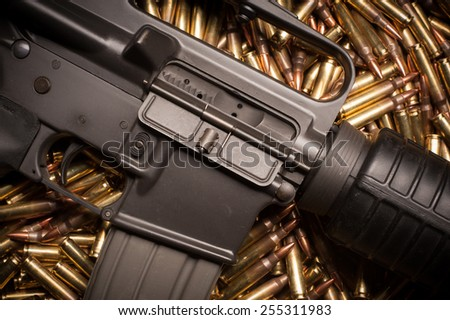 AR15 with .223 or 5.56 x 45mm NATO xm193 ammunition. - stock photo