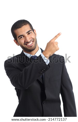 Arab business man presenter presenting and pointing at side isolated on a white background - stock photo