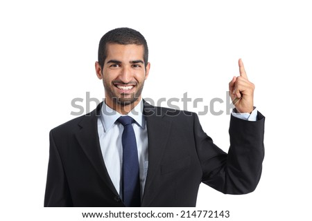 Arab business man promoter introducing and pointing a blank product isolated on a white background                - stock photo