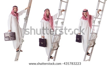 Arab businessman climbing the stairs on white - stock photo