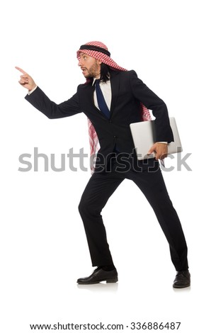Arab businessman with computer on white - stock photo