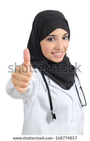 Arab doctor woman agree with thumb up isolated on a white background - stock photo
