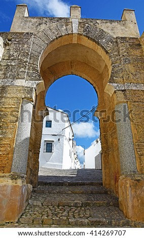 Arab door of Century X in Medina Sidonia, Cadiz. - stock photo