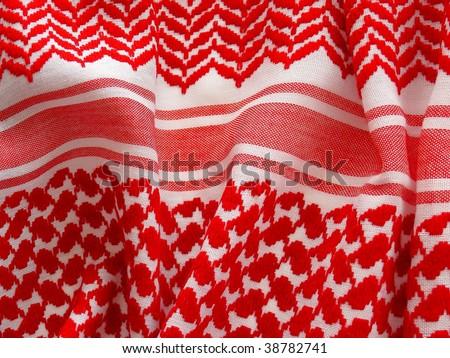 Arab keffiyah pattern closeup. More of this motif & more fabrics in my port. - stock photo