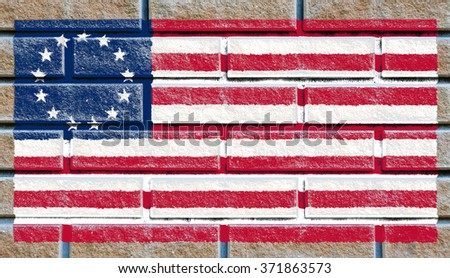 Arab League flag painted on old brick wall texture background - stock photo