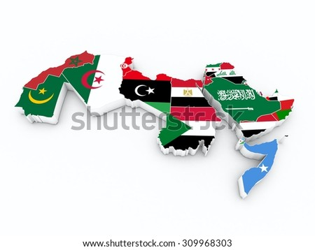 arab league member flags on 3D map - stock photo