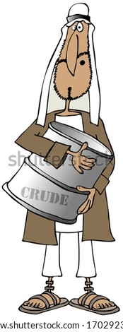 Arab man holding a barrel of crude - stock photo