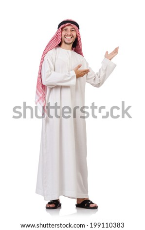 Arab man isolated on white - stock photo