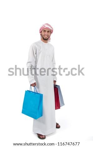Arab Man Shopping - stock photo
