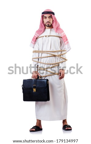 Arab man tied up with rope on white - stock photo