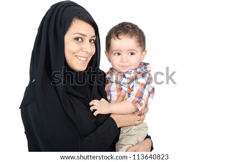Arab Mother with her child - stock photo
