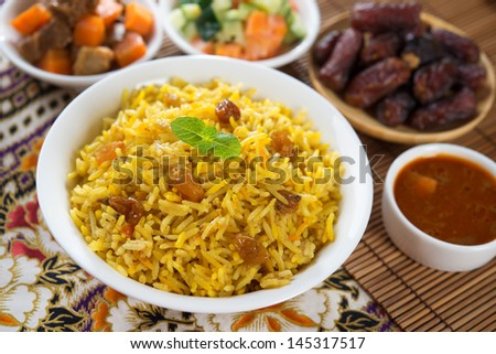 Arab rice, Ramadan food in middle east usually served with tandoor lamb. Middle eastern food. - stock photo