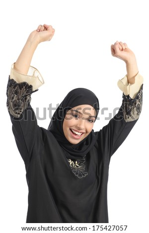 Arab saudi emirates woman euphoric raising arms isolated on a white background               - stock photo