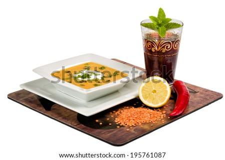Arab / Turkish lentil soup is delicious deep dish - stock photo