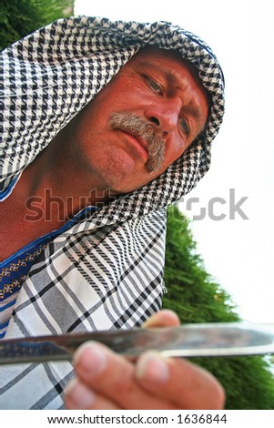 Arab with Sword - stock photo