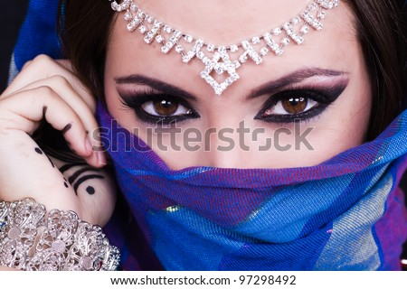 Arab woman. Beautiful creative makeup - stock photo