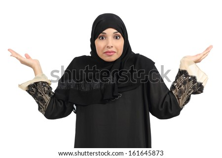 Arab woman doubting and gesturing isolated on a white background - stock photo