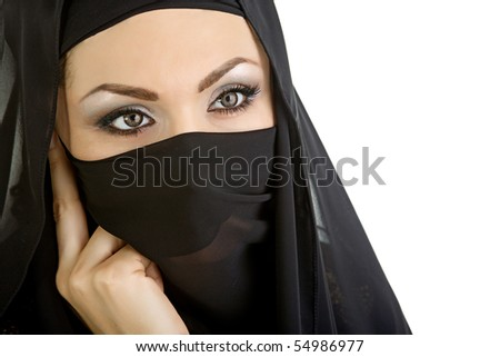 Arab woman isolated on a white background - stock photo