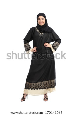 Arab woman posing standing looking at camera isolated on a white background            - stock photo