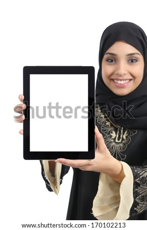 Arab woman showing a tablet display application  isolated on a white background - stock photo