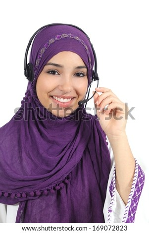 Arab woman working as a telephone operator isolated on a white background               - stock photo