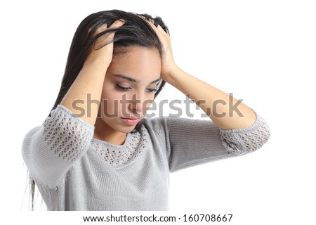 Arab woman worried with the hands in the head isolated on a white background - stock photo