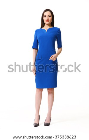 arabian asian eastern brunette business executive woman with straight hair style in party dress blue  high heels shoes full length body portrait standing isolated on white  - stock photo