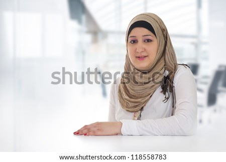 Arabian Business Woman Posing in office - stock photo