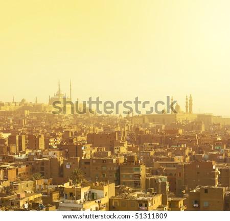 Arabian city in yellow gamma. Cairo - stock photo