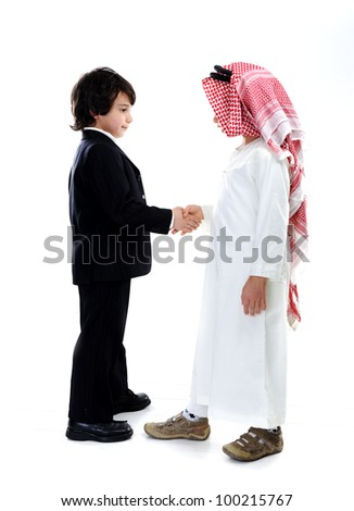 Arabic and caucasian little businessmen - stock photo