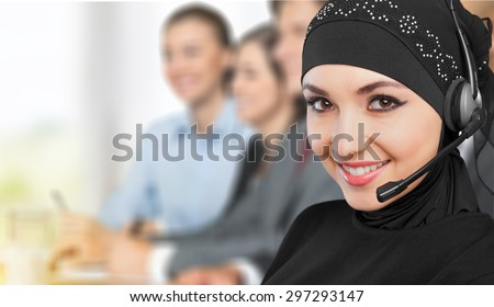 Arabic, arabian, operator. - stock photo
