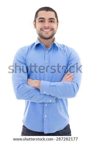arabic business man in blue shirt isolated on white background - stock photo