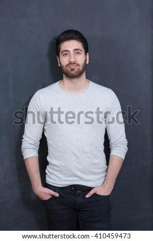Arabic  man with beard portrait - stock photo
