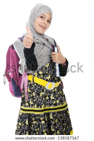 Arabic Muslim girls wearing Islamic clothes - stock photo
