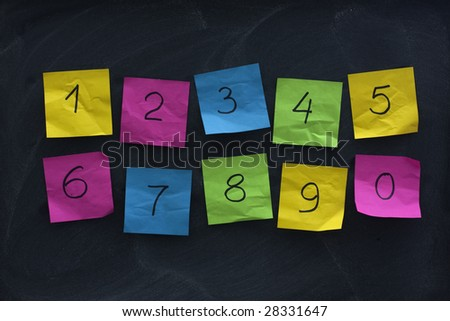 arabic numerals handwritten on colorful crumbled sticky notes and posted on blackboard with eraser smudges - stock photo