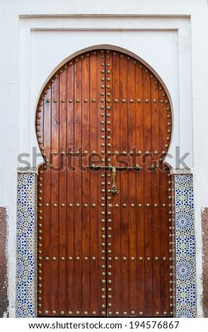Arabic oriental styled door in Marrakesh, Morocco - stock photo