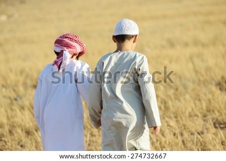 Arabic people enjoying in nature - stock photo
