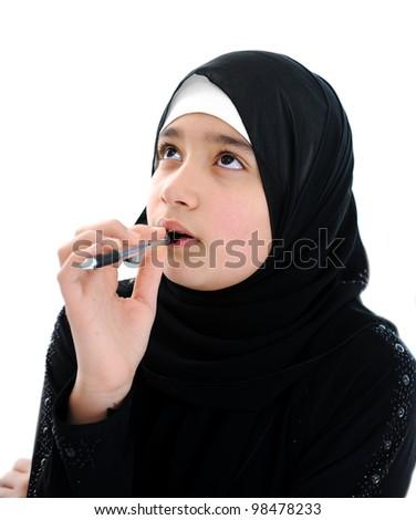 Arabic school girl portrait - stock photo