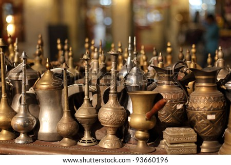 Arabic souvenirs for sale in Souq Waqif, Doha Qatar - stock photo