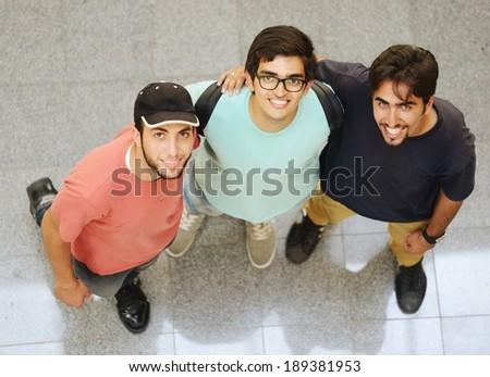 Arabic students posing at campus - stock photo