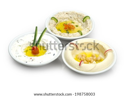 Arabic traditional Hummus , labneh and mtabbal isolated  - stock photo