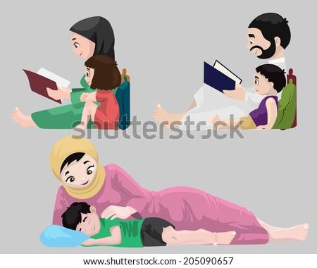 Arabs- Bedtime Stories - stock photo