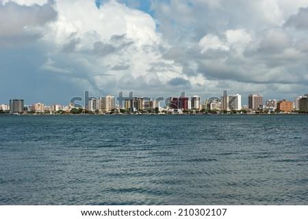 Aracaju - Sergipe, Brazil - June 6, 2014: cityscape of Aracaju view from Atalaia nova - stock photo