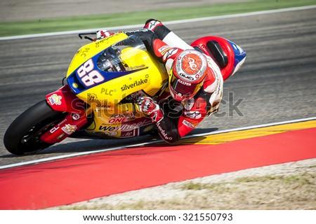 ARAGON, SPAIN - SEPTEMBER 27: Ricard Cardus at GP Movistar de Aragon of MotoGP at Motorland Aragon Circuit on September 27, 2015 in Aragon, Spain. - stock photo