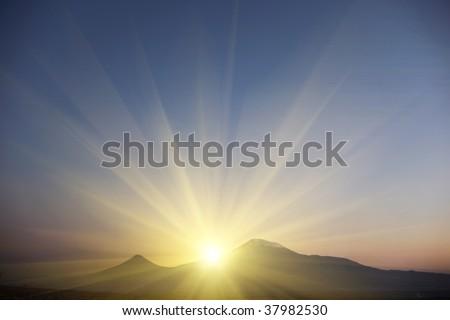 Ararat at sunset - stock photo