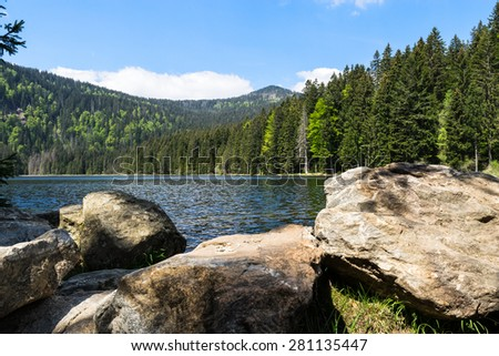 Arber lake at Bavarian Forest with Mt. Grosser Arber in background. - stock photo