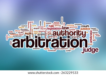 Arbitration word cloud concept with abstract background - stock photo